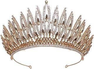 Bridal Headdress Baroque Crown Hairband Wedding Accessories Wedding Crown Hair Accessories Rhinestone Crystal Hair Crown(2 Colors Optional),Gold
