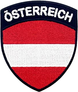 EmbTao Austria Flag Shield Patch Embroidered National Morale Applique Iron On Sew On Austrian Emblem