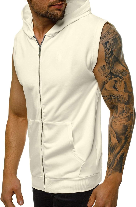 gimnasio musculaci/ón entrenamiento con cremallera Camiseta sin mangas con capucha para hombre culturismo para entrenamiento chaleco sin mangas con bolsillos