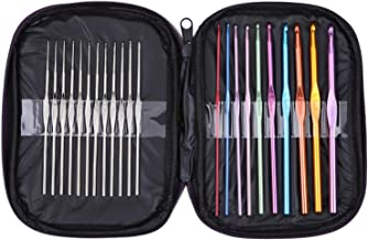 Crochet Hooks-Crochet Needles Kit Size From B to K Silver Needle Size From 3 to 14(22 Pieces)