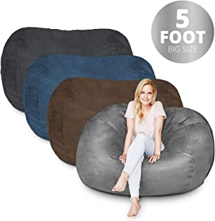 Bean Bag Chair | 5 Foot & Dark Grey | Microsuede Cover Machine Washable Big Size Sofa and Giant Lounger Furniture for Kids Teens and Adults