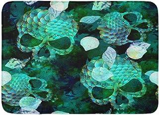 Doormats Bath Rugs Outdoor/Indoor Door Mat Blue Animal Marine Scary Mermaid Scale Seashells Skulls and Watercolor Effect G...