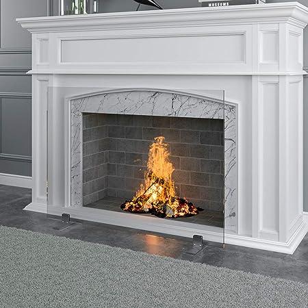 Manhattan Modern Free Standing Glass Fireplace Screen Clear Stainless Steel Feet Medium 39 X 29 Decorative Screen Made In Usa Home Kitchen