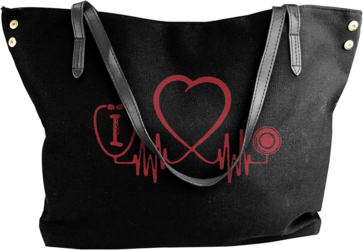 Nursing Heart Beat Women'S Recreation Canvas Handbag For Shopping Big Shopping Bag