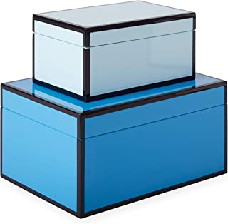 Now House by Jonathan Adler Chroma Lacquer Decorative Accessories Stacking Boxes, Blue