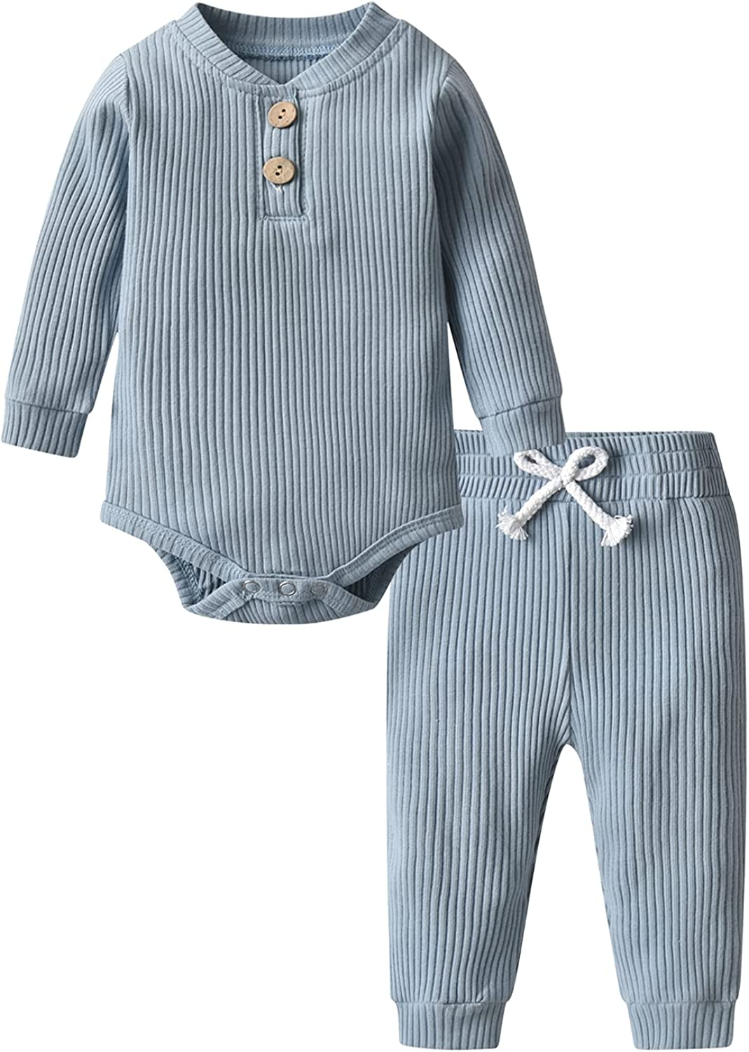 Newborn Baby Boy Girl Clothes Ribbed Cotton Long Sleeve Romper and Pants Outfits Set