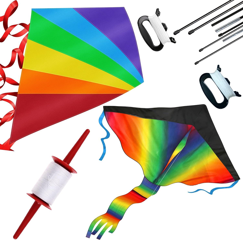 2 Pack Rainbow Kite and Diamond with 1 Spool and 2 80m Kite Stri