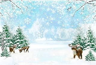 LFEEY 10x8ft Winter Scene Backdrop Ice Snowflakes Pine Forest Wonderland Elk Baby Reindeer Deer Christmas Tree Birthday Wedding Party Photography Background Cloth Wallpaper Photo Studio Props