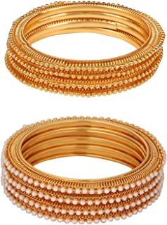 Indian Bollywood Traditional Ethnic Gold Plated Pearl Studded Combo Bracelets Bangle Set Wedding Jewelry (4 pc Each)