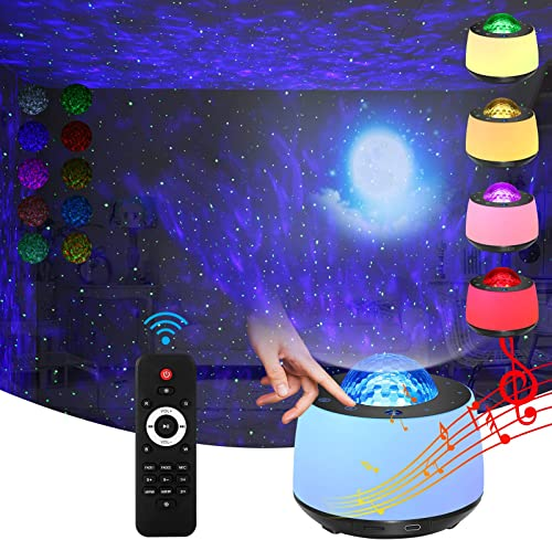 Star Projector Light with Night Light Projrctor Moon and Nebula Effect/Bluetooth Voice Control/Rotating Ocean Wave/Bl...
