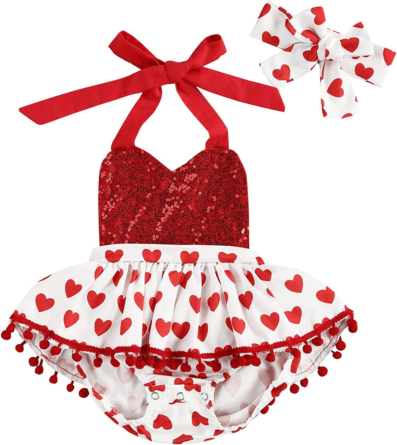Infant Max 81% OFF Newborn Baby Girl Valentines OFFicial shop Romp Outfit Day Halter Heart
