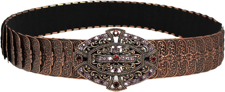 Chelsea Hill Women's Wide Metal Stretch Waist Belt; Bronze (XLarge)
