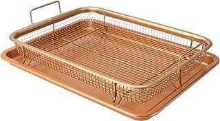 Kopparkrossningskorg och bakplåt | Förhöjd Crisping Basket | Tvådelad ugnsuppsättning | Matlagningsbrickor utan stick | Kö...