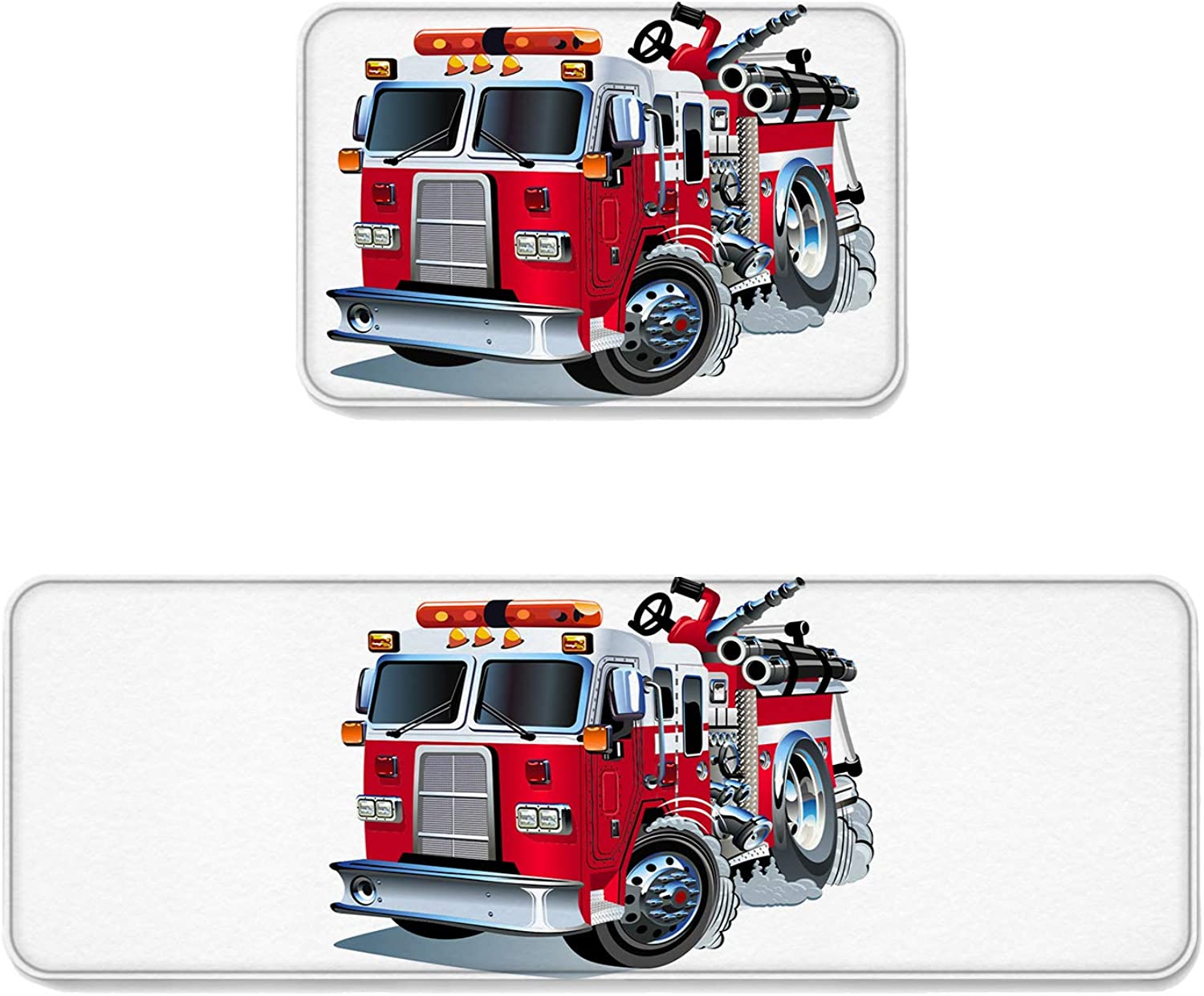 Fantasy Star Kitchen Rug Sets 2 Piece Floor Mats Non-Slip Rubber Backing Area Rugs Cartoon Fire Truck Doormat Washable Carpet Inside Door Mat Pad Sets (19.7  x 31.5 +19.7  x 63 )