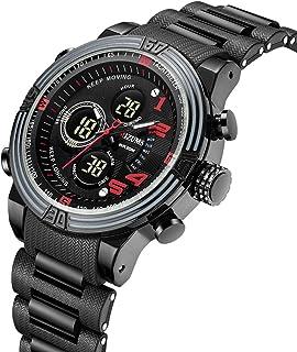 Mens Analog Digital LED 3ATM Waterproof Outdoor Sport Military Multifunction Dual Display Stopwatch Calendar Wrist Watch