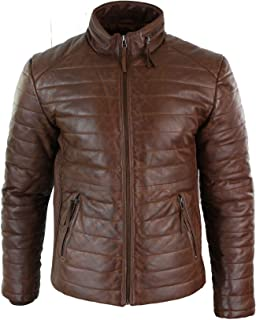 Aviatrix Mens Real Leather Genuine Quilted Puffer Zipped Jacket Brown Black Casual