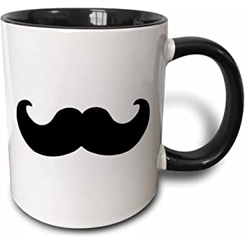 "3dRose mug_58329_4""Black mustache on white - Ironic hipster moustache - Humorous - Fun - Whimsical - Silly - Funny"" Two Tone Black Mug, 11 oz, Multicolor"