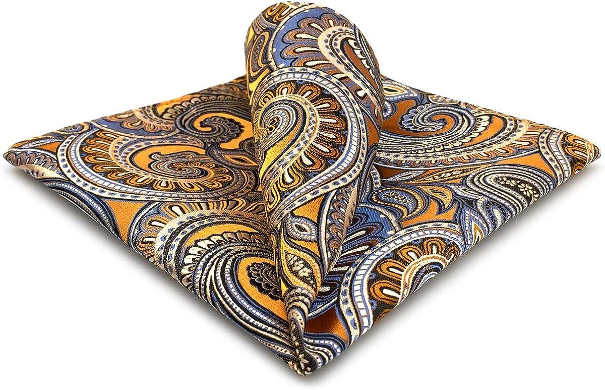 KH6 SHLAX&WING Mens Pocket Square Paisley Orange Handkerchieves Silk Hanky