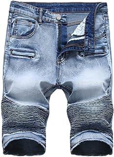 17b4a53a4c2 RAISINGTOP Men Capri Denim Pants Pleated Zipper Crumple Straight Vintage  Style Slim Fit Jeans Casual Shorts