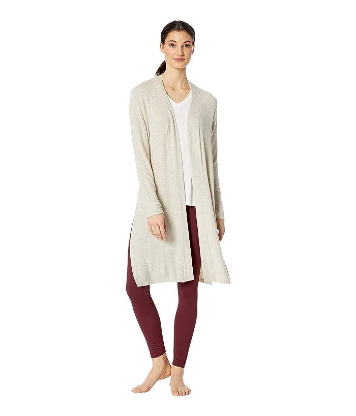 Beyond Yoga High Slits Long Duster (Oatmeal Heather) Women's Sweater