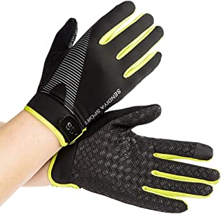 CUGBO Summer Men and Women Ice Silk Thin Fitness Training Full Fingers Gloves Mountaineering Outdoor Non-Slip Sports Breathable Riding Gloves Green(Green)