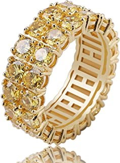 9mm 2Rows Round Cut 14K Silver Plated Iced Out Lab Diamond Wedding Band Eternity Ring for Men Women