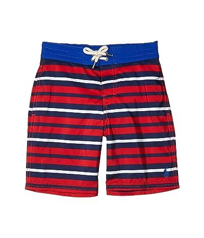 Polo Ralph Lauren Kids Striped Sanibel Swim Trunks (Little Kids) (Red Multi) Boy