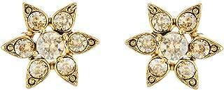 Oscar de la Renta Crystal Flower Button Earrings