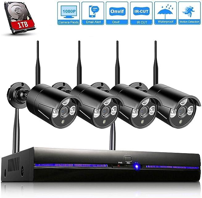 REIGY H.265 Kit Cámaras de Vigilancia WiFi Exterior 1080P 8CH NVR Sistema de Seguridad Inalámbrico con 1TB HDD Visión Nocturna Detector de Movimiento IP66 Impermeable para Jardín en Casa Negro