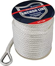 attwood Solid Braid MFP Anchor Line with Thimble (White, 3/8-Inch x 100-Feet)