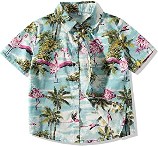 tommelise Baby Boys' Floral Cotton Casual Button Down Short Sleeve Hawaiian Shirt