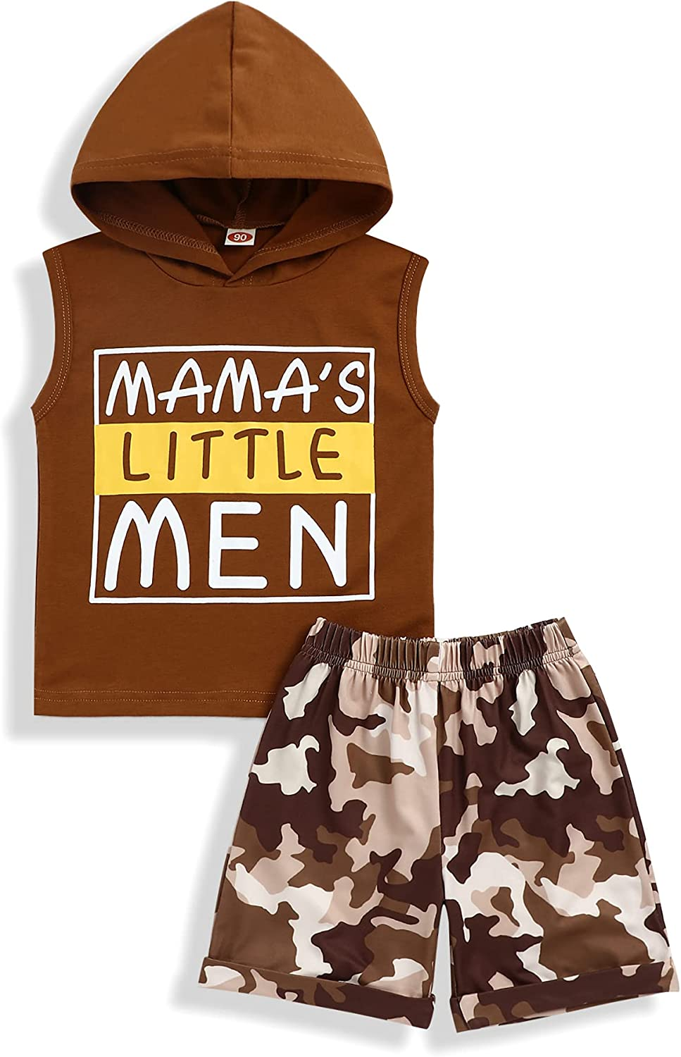 bilison Toddler Baby Boy Clothes Funny Letter Print Hooded Top Sleeveless Vest Camouflage Shorts Summer Outfit Sets