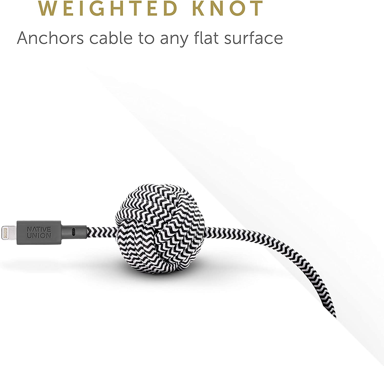 Native Union Night Cable Apple MFi Certified 10ft Ultra-Strong Reinforced Durable Lightning to USB Charging Cable with Weighted Knot for iPhone//iPad Marine