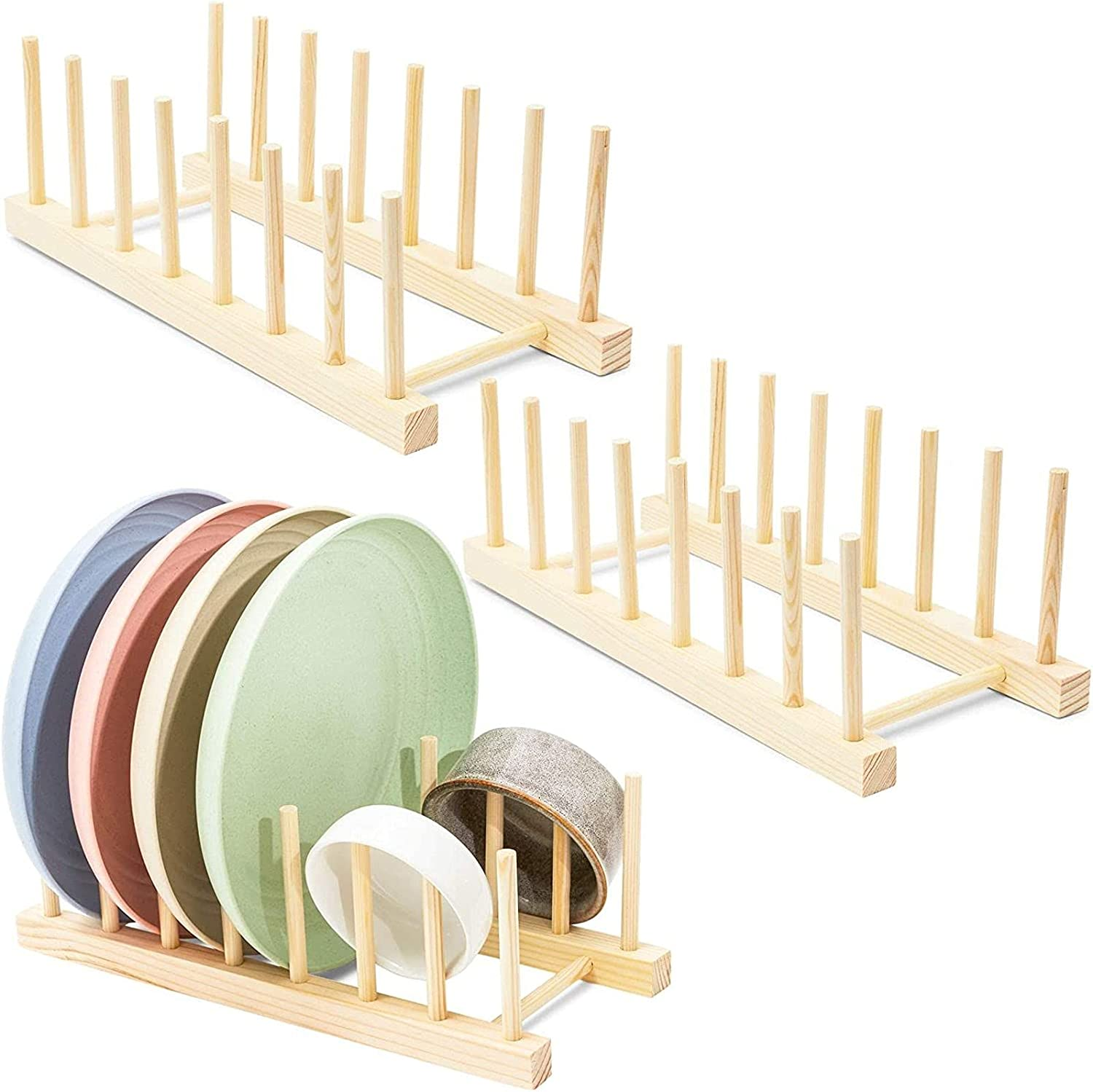 Wooden Plate Organizer and Houston Mall Dish 12.2 Bargain In Rack 3-Pack