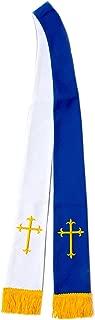 LONG CLERGY REVERSIBLE VISITATION STOLE (ROYAL BLUE/GOLD & WHITE/GOLD)