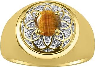 Hermosa piedra de color cabujón con forma redonda de 7 mm y diamantes brillantes auténticos en plata chapada en oro amaril...