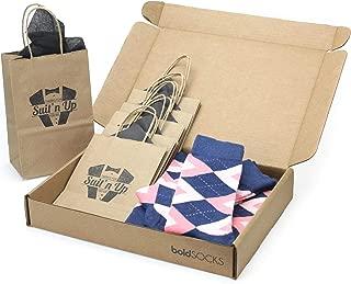 Flamingo Blush Pink Navy Argyle Men's Socks - Groomsmen Wedding Sock Kit with Gift Bags