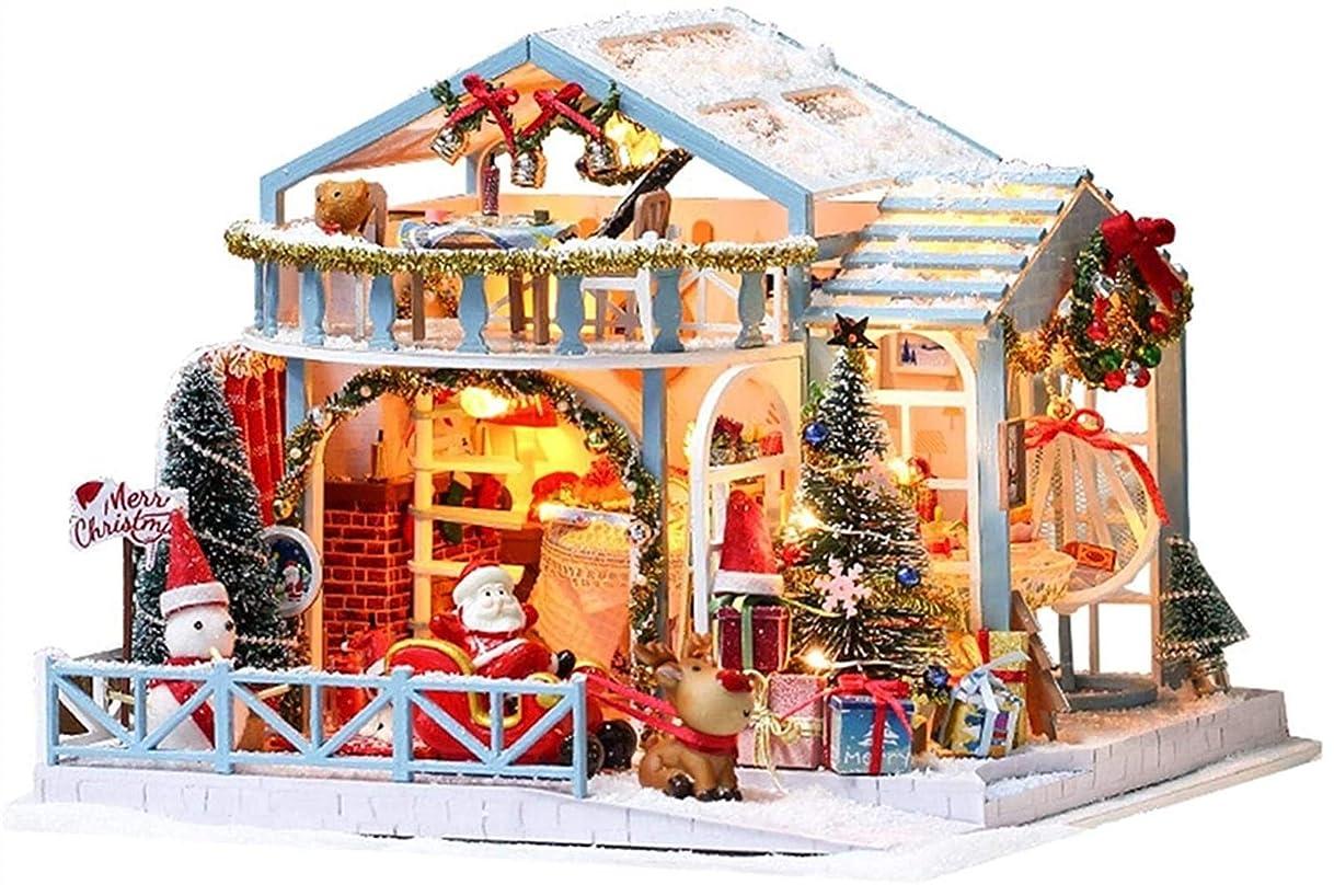 月面ソース収束ドールハウス 手作 クリスマス イブ クリスマスキット、ミニチュア現実的なキャビン3Dハウスの家具LEDライト防塵音楽ムーブメント、子供のベッドルームプレイセットで組み立てDIY木製ドールハウス、プレゼント、オルゴール