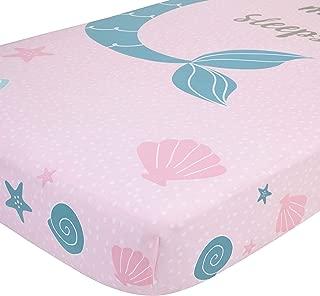NoJo Sugar Reef Mermaid Photo Op 100% Cotton Fitted Crib Sheet, A Little Mermaid Sleeps Here, Aqua/Pink