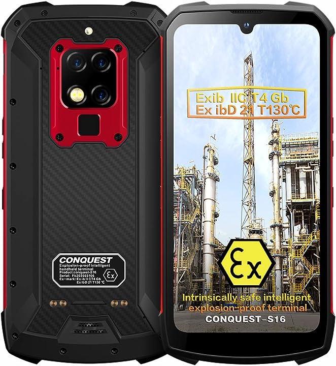 Smartphone conquest s16 rugged atex zona1/2 intrinsecamente sicuro ip68 tripla fotocamera B08C5GMRJW