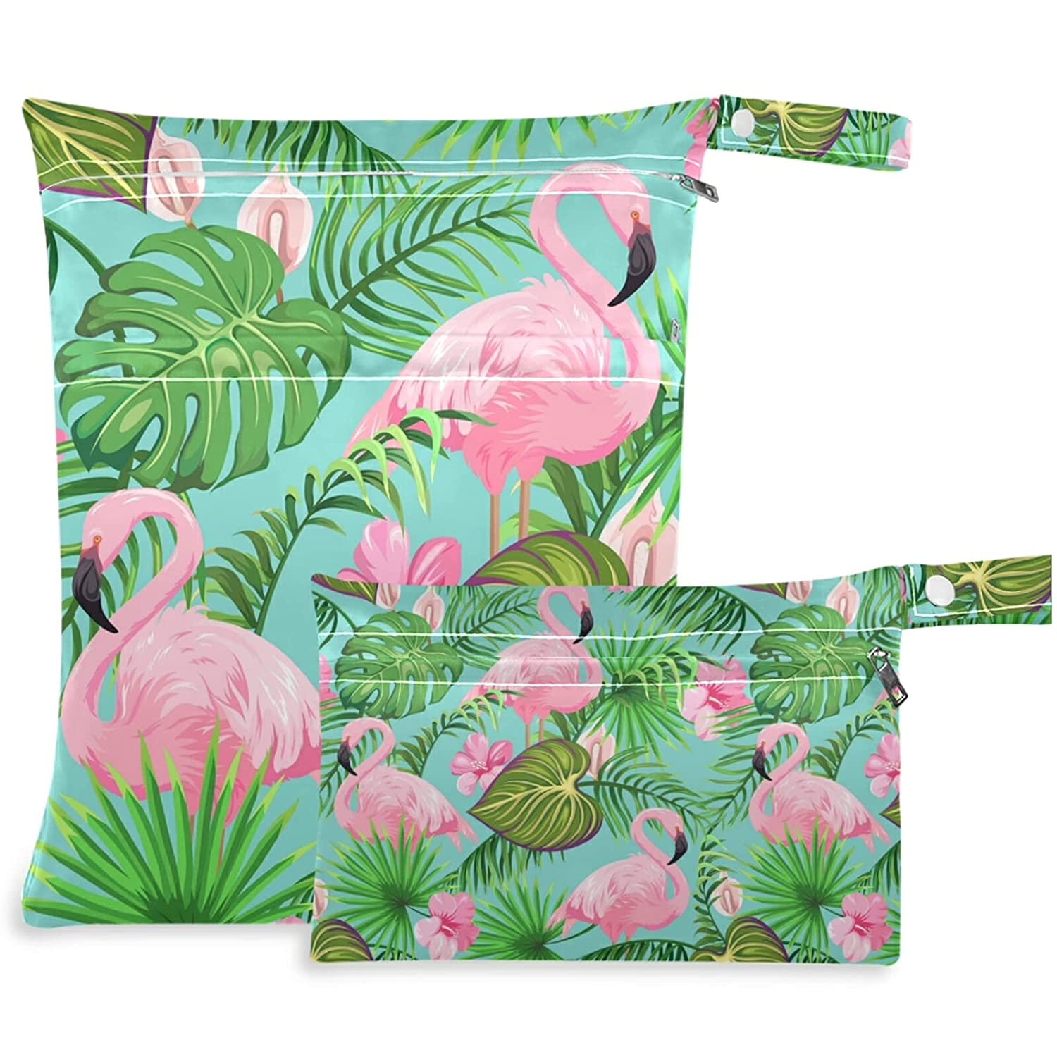 visesunny Tropical Flamingo Palm Leaf Bag 2Pcs Wet ! Super beauty product restock quality top! with Zippered Max 57% OFF