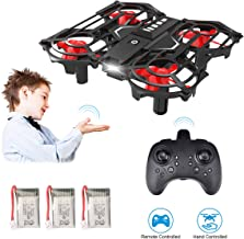 Hand Operated Drones & Remote Control Mini Drone for Kids or Adults, Funkprofi RC Pocket Quadcopter with Altitude Hold, Headless Mode, 3D Flip, Speed Adjustment and 3 Batteries