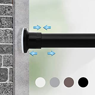Moyeno Tension Curtain Rod, Adjustable Spring Window Curtain Rod Room Divider No Drill, Adjustable Long Curtain Rod for Kitchen, Bathroom, Window, Bedroom, Balcony - Black - 28-43 Inches