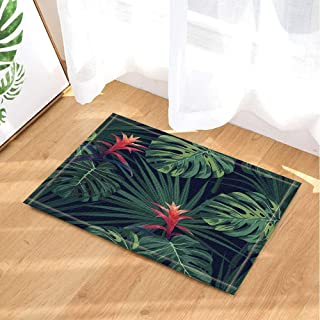 Tropical Exotic Decor,Green Monstera and Sabal Palm Leaves Bath Rugs,Non-Slip Doormat Floor Entryways Indoor Front Door Mat,Kids Bath Mat,15.7x23.6in,Bathroom Accessories