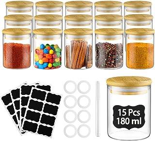Glastal 15 Pot à épices,180 ML Rond Borosilicate Bocaux de Rangement Décoratif,Bocaux à épices avec Couvercle en Bambou,32...