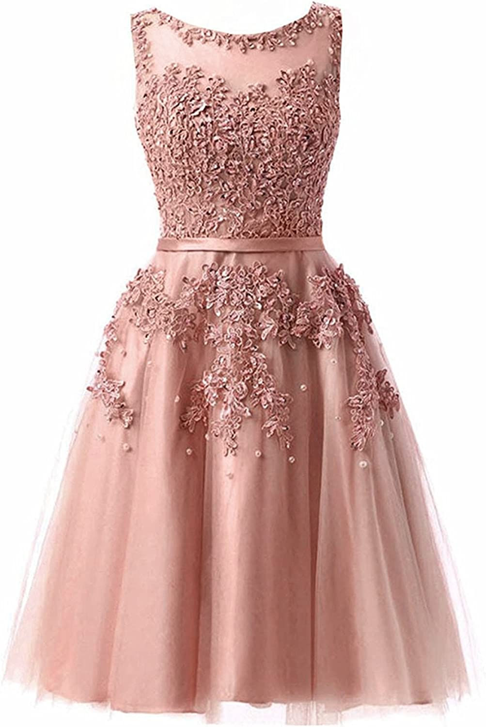 Ever Girl Women's Knee Length Tulle Lace Appliques Hollow Homecoming Dress