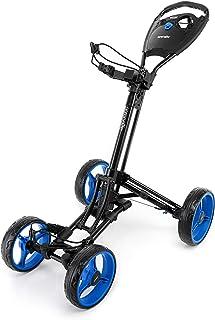 SereneLife 4 Wheel Golf Push Cart - Lightweight Folding Walking Push Cart Roller Golf Bag Holder w/Foot/Handle Brake, Uppe...