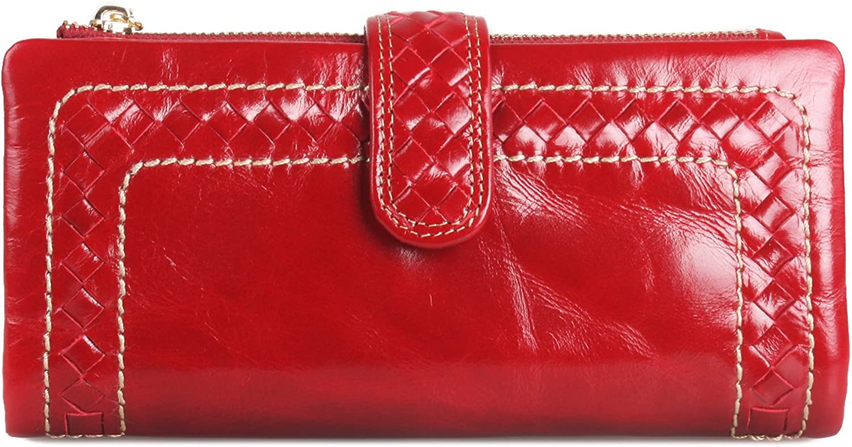 Borgasets Women's Soft Leather Trifold Wallet Zipper Purse (WeaveRed)