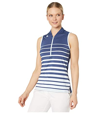 adidas Golf Engineered Stripe Polo Shirt (Tech Indigo) Women