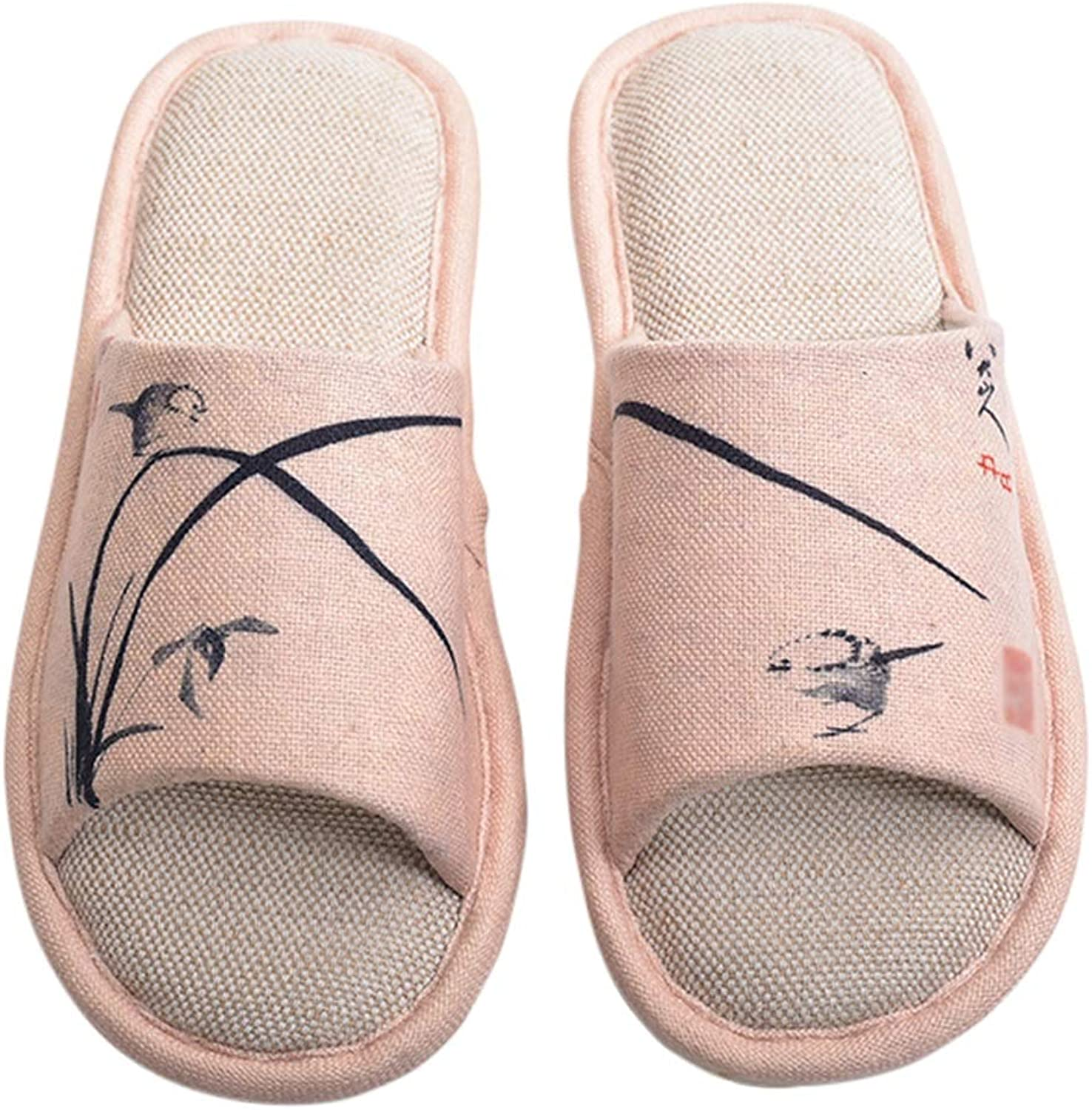 HUYP Pink Cotton and Linen Creative Slippers Home Non-Slip Female Summer Indoor Fashion Slippers (Size   5.5 US)